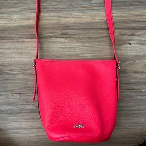 NWOT Coach Neon Pink Bucket Leather Cross Body Bag